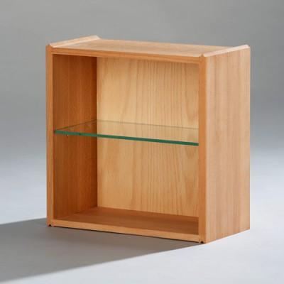 die Stapelbox - Halbe Stapelbox für CDs und Taschenbücher mit massiven Seiten und Glasfachboden